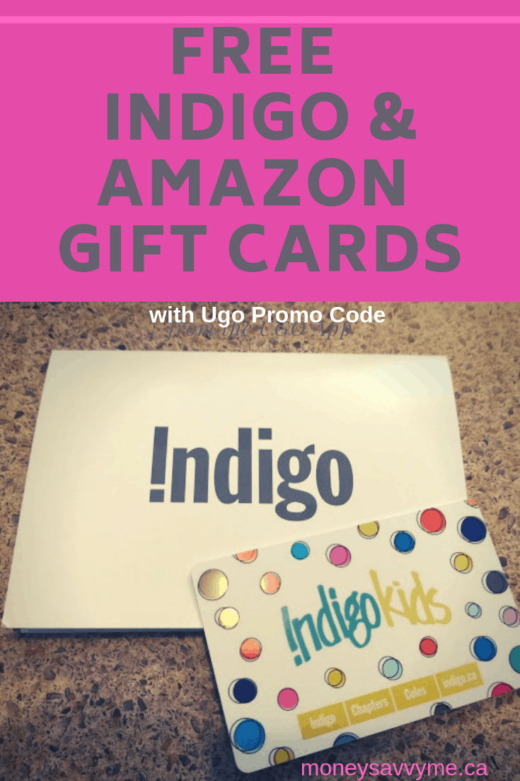 Promo Codes for free Amazon and Chapters Gift Cards with the UGO App