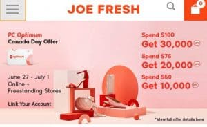 How to Get the most points at Joe Fresh