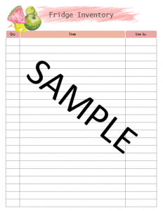 Printable Meal Plan with inventory trackers